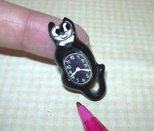 Miniature 60's-Style Black Cat Clock w/Paper Face(s): DOLLHOUSE 1:12