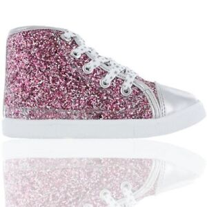 89720320c9d5 Girls Glitter High Top Trainers Hi Top Boots Kids Shoes Size 7
