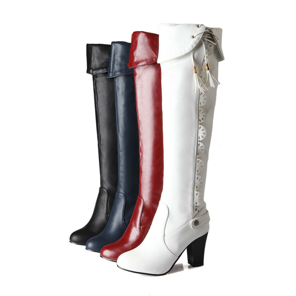 Ladies BOHO Mid High Block Heel Lace Up shoes Over The Knee High Riding Boots