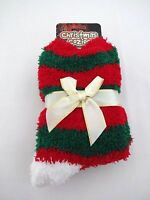 Christmas Fuzzy Socks Red Green Striped Cozy Ladies Stretchy Gift Bow
