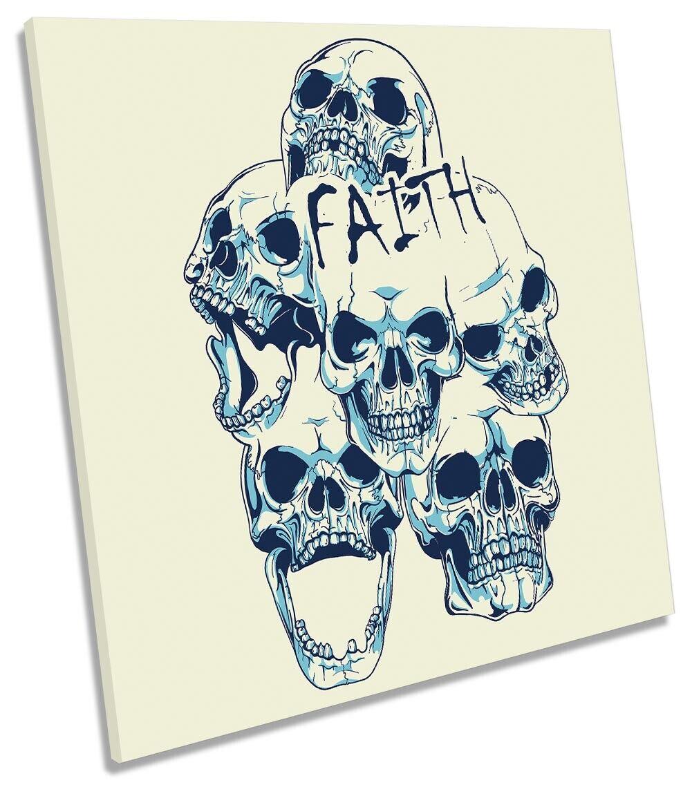 Faith Skulls Modern Picture CANVAS WALL ART Square Print