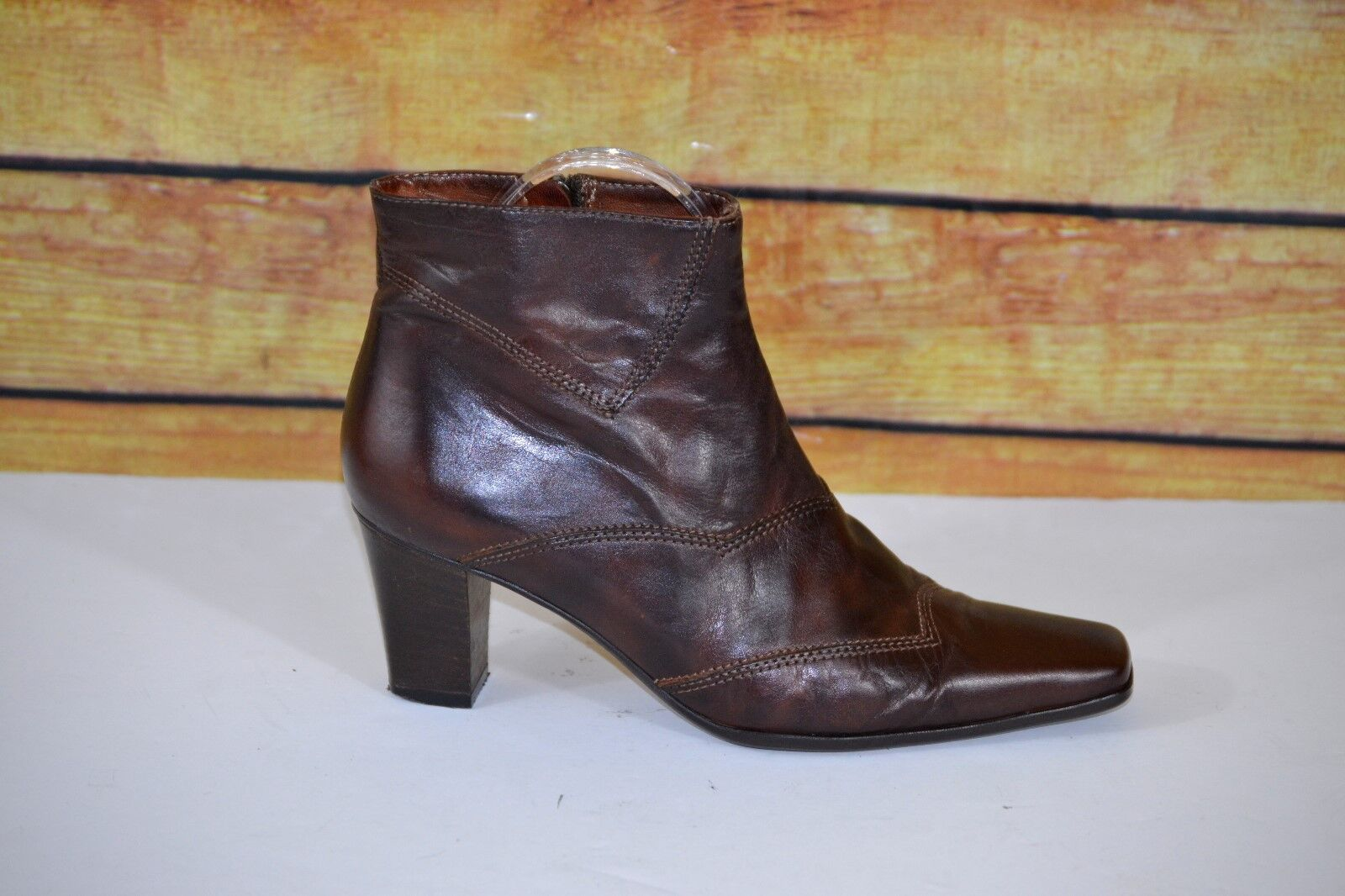 Sesto Meucci Womens Brown Leather Ankle Boots Zip Up Square Toe  Sz 6N