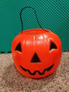 Empire-Blow-Mold-Halloween-Jack-O-Lantern-Pumpkin-Trick-Treat-Bucket-Pail-7-034