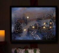 Illuminart 12x16 Backlit Led Canvas Artwork H203130 Winter Cottage