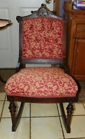 Walnut Victorian Carved Rocker / Rocking Chair (R84)