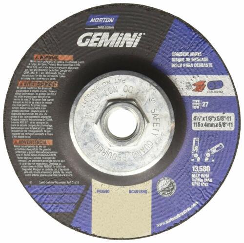 Norton Gemini Grinding Wheel Aluminium Oxide Type 27 4-1//2 x 1//8 x 5//8-11
