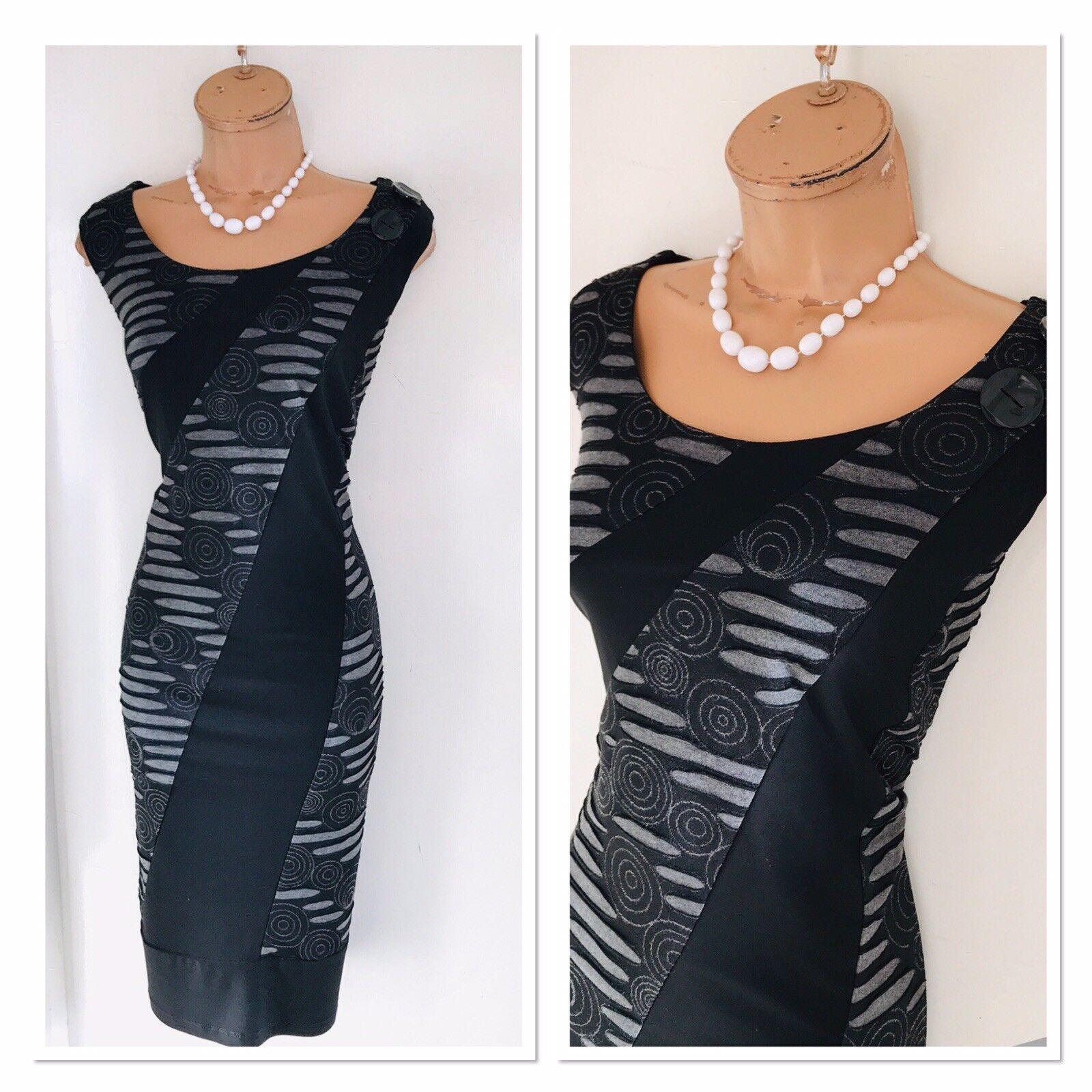 FRANK LYMAN schwarz grau Swirl Pattern Stretchy Bodycon Dress Uk 18