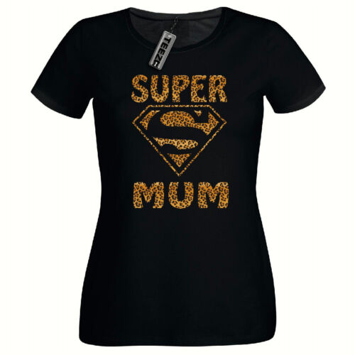 Women/'s T shirt Super Mum Ladies Fitted T shirt Leopard Print T shirt
