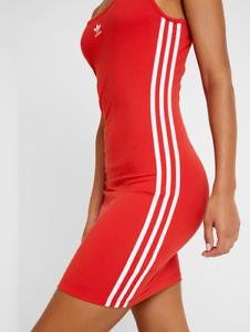 Adidas Originals Spaghetti Strap Tank Bodycon Kleid Rot Uk 16 Ebay