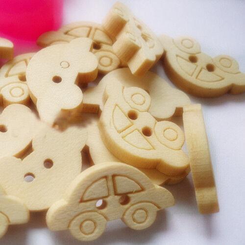 Botones De Madera de 20mm de corazones Coches 10mm,15 mm round.bears box86 flores.