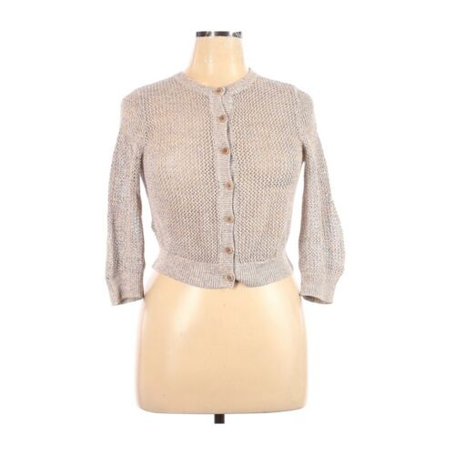 Theory linen cropped cardigan, L