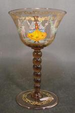 Murano - Weinglas fein bemalt und vergoldet. Mundgeblasenes Glas.