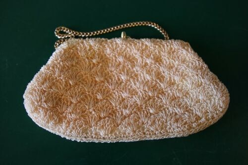 VTG Pastel  Peach Seed Bead Crochet Evening Bag To