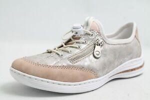 Details zu Rieker Schuhe beige metall Effekt Hightech Wechselfußbett Varioschnürung Damen