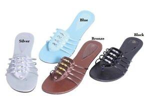 LADIES-FASHION-SLIP-ON-THONG-SANDALS-BLACK-BRONZE-SILVER-BLUE-5-6-7-8-9