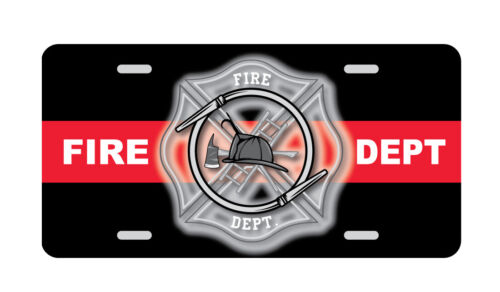 FIRE DEPTARTMENT License Plate Firefighter Red Line Novelty Tag