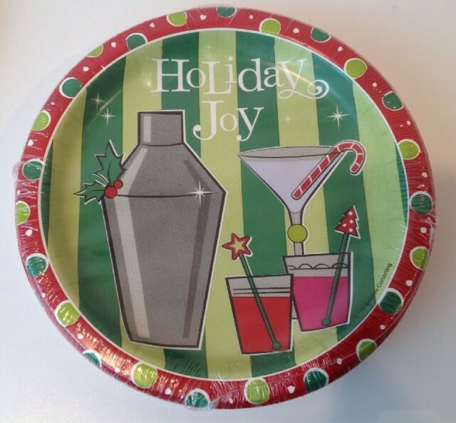 Christmas Paper Plates.Christmas Paper Plates 7 Appetizer Cocktail Party Martini Green Red 8 Pack
