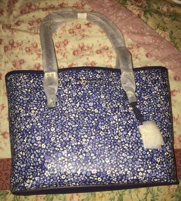 Michael Kors Jet Set Travel Floral Medium Carryall Tote in Navy 35h7gtvt6r