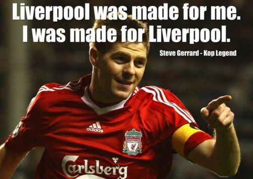 Steve Gerrard 20 Inglese Calcio Giocatore Poster Motivazione Liverpool Citazione