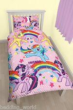 SINGLE BED MY LITTLE PONY PARTY DUVET COVER SET UNICORN RAINBOW PINK POLKA DOTS