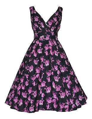 Generoso Classic 40's 50's Viola Fiore Stampa Rockabilly Prom Swing Tea Dress New 10 -22-mostra Il Titolo Originale Rinvigorire Efficacemente La Salute