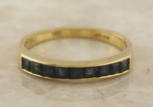 Vintage-18ct-Yellow-Gold-Multi-Sapphire-Ring-Size-N-1-2