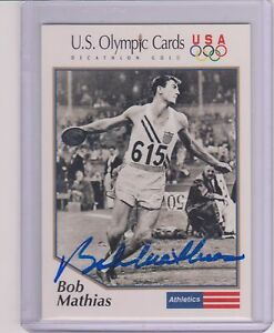 RARE-1992-OLYMPIC-BOB-MATHIAS-DECATHLON-AUTOGRAPH-CARD-1-USA-CERTIFIED-AUTO