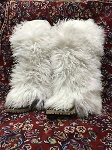 DOLCE-amp-GABBANA-D-amp-G-White-Winter-Boots-Shoes-Real-Fur-Leather-40