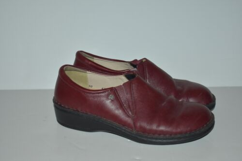 Finn Comfort Burgundy Leather Soft Slip On Loafers