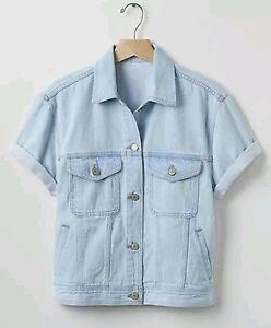 Gap Women's Light Indigo Short Sleeve Rolled Denim Jacket Size M ...