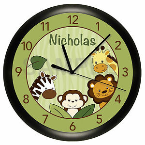 Image Is Loading Green Safari Jungle Wall Clock Nursery Personalized Monkey