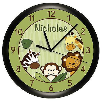 SAFARI JUNGLE WALL CLOCK NURSERY BEDDING PERSONALIZED MONKEY GIRAFFE ZEBRA LION