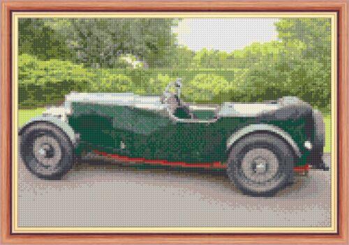 "Cross Stitch Kit 12/"" x 8/"" 14 Count 1932 Aston Martin Old Classic Green Car"