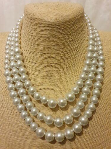 Womens Retro Vintage Statement Multi Strand Layered Bead Faux Pearl Bib Necklace