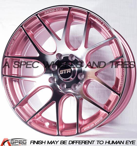 15X8 +0 STR 517 4x100 4X114.3 ROSE WHEEL ACURA HONDA SCION CONCAVE STANCE JDM