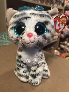 "d88c0575698 Ty QUINN -Grey White Striped Tabby Cat 6"" Beanie Boo!  New Exclusive ..."