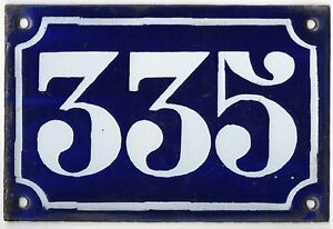 Old blue French house number 335 door gate plate plaque enamel metal sign c1900