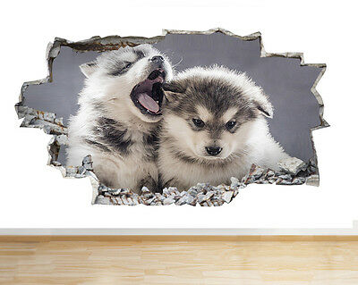 S783 Husky Pups Yawn Cute Animals Smashed Wall Decal 3D Art Stickers Vinyl Room