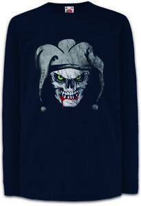 JOKER-SKULL-I-Kinder-Langarm-T-Shirt-Schaedel-Dead-Totenschaedel-Totenkopf-Tattoo