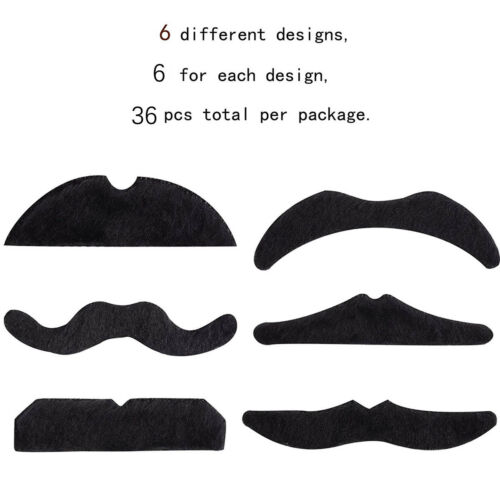 Halloween Xmas 36Pcs Fake Moustache Stick-on Tash Mustache Fancy Dress Toys