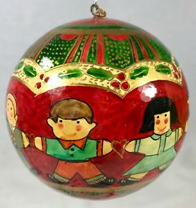 image is loading hand painted christmas ornament children in circle made