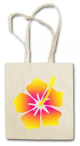 HAWAII FLOWER II STOFFTASCHE EINKAUFSTASCHE Flowers Beach Grill Bar Hula Tiki