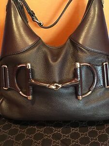 dc7a7b5900e Image is loading Gucci-Brown-Pebbled-Leather-Heritage-Web-Horsebit-Hobo-