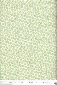 Feedsack-Pale-Green-Flowers-NEW-Quilt-Fabric-1-Yard