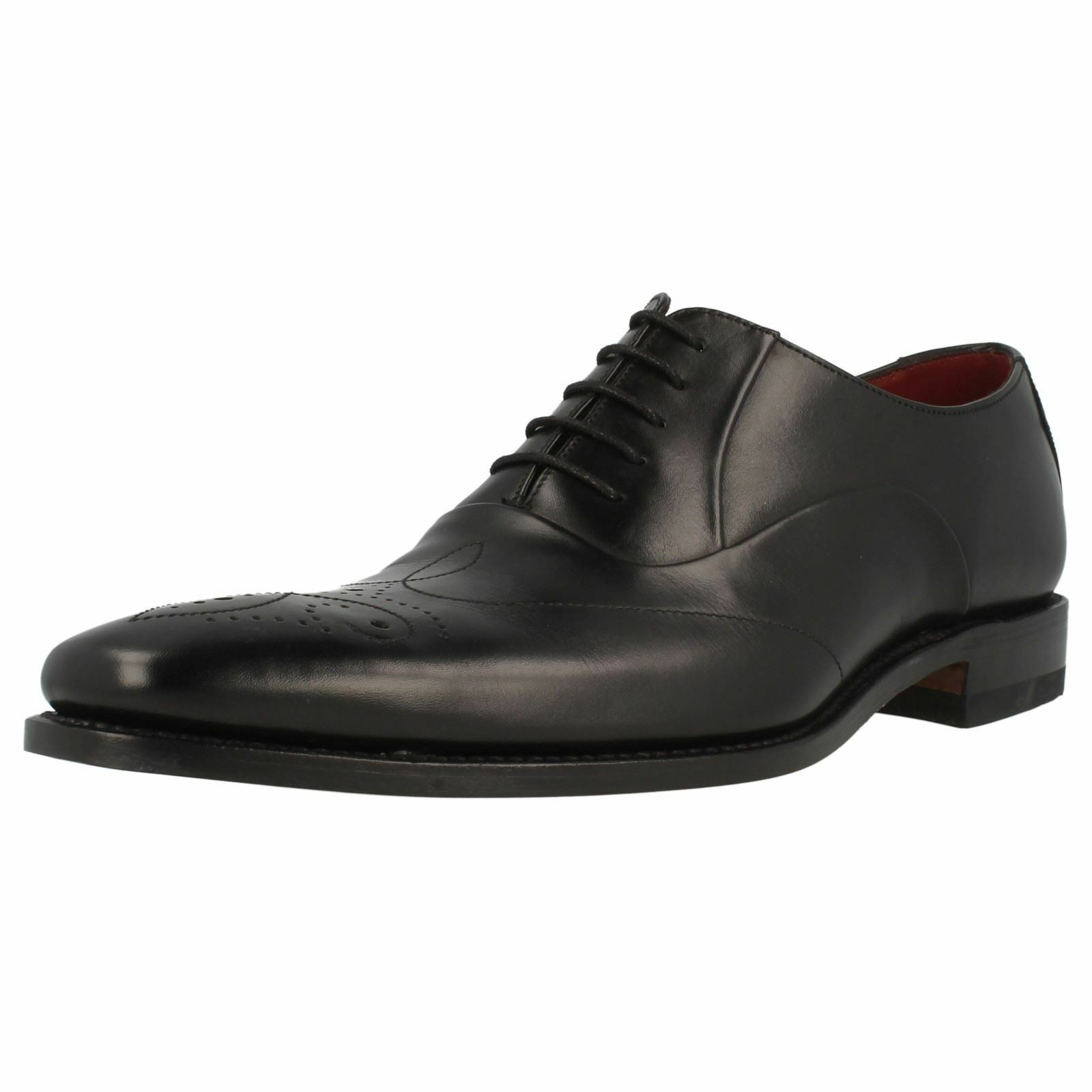 Mens Design Loake Gunny Black Leather Lace Up Shoes