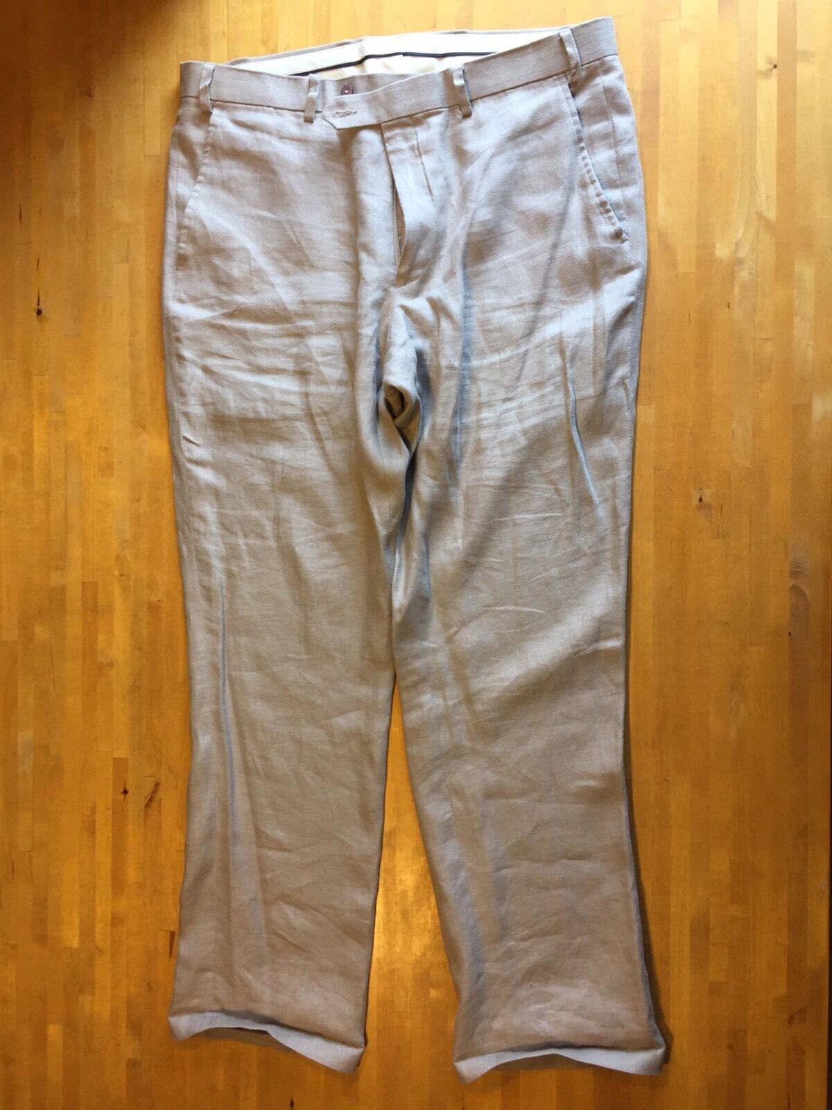 5ef5ab17bc96a GREG NORMAN Mens 36x32 Taupe Linen Dress Pants Flat Front (Actual 38x32)