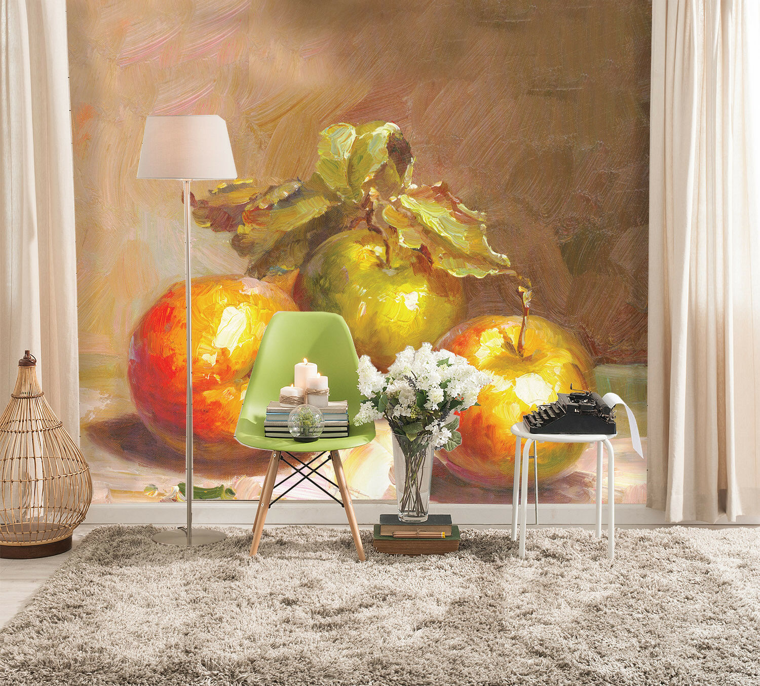 3D Apple Paint 737 Wallpaper Mural Paper Wall Print Wallpaper Murals UK Lemon
