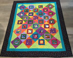Patchwork Quilt, Squares, Triangles, Hand Made. Vivid Colors, Animals, Dots