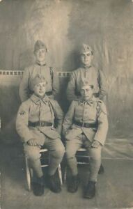 Four Soldiers Real Photo Postcard rppc