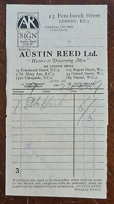 1919 Austin Reed Ltd Mens Hosiers 13 Fenchurch Street London Invoice Ebay